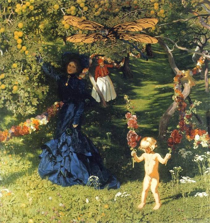 """domena publiczna: Józef Mehoffer """"Dziwny ogród"""""""